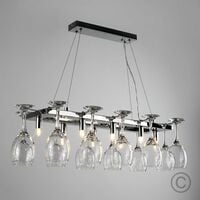 MiniSun - 8 Way Adjustable Suspension Over Table Chrome Dining Room Kitchen Ceiling Light + 12 Wine Glass Holders