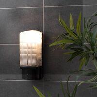 MiniSun - Outdoor Black Plastic IP44 Sensor Bulkhead Security Wall Light - Dusk Till Dawn
