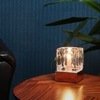 MiniSun - Glass Ice Cube Touch Table Lamp - Copper