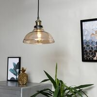 Industrial Black & Gold Ceiling Light Pendant + An Amber Clear Glass Shade - No Bulb