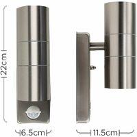 MiniSun - 2 x Stainless Steel Up / Down Outdoor Security Wall Lights PIR Motion Sensor - No Bulbs