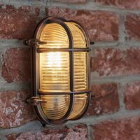 MiniSun - IP64 Rated Cross-Cased Metal Outdoor Bulkhead Wall Light - Copper
