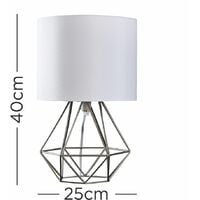2 x Cage Table Lamps - Silver & White