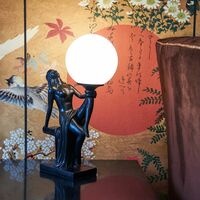 Vintage Sculpture Table Lamp Art Deco Black White Glass Shade Lady Statue