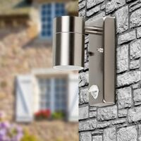 MiniSun - Stainless Steel Outdoor Garden Wall Down Light with PIR Motion Sensor IP44 Rated - 5W LED GU10 Bulb - Cool White