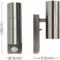 MiniSun - Stainless Steel Up / Down Outdoor IP44 Rated Security Wall Light With PIR Motion Sensor - No Bulbs
