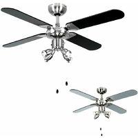 "MiniSun - Chrome 42"" Ceiling Fan With Spot Lights & Black / Silver Reversible Blades - No Bulbs"