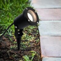 MiniSun - Ip65 3 In 1 Ground Wall Spike Outdoor Light Black Finish + 3W LED Dusk To Dawn Sensor Bulb