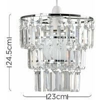 MiniSun - 3 Tier Ceiling Pendant Light Shade with Acrylic Jewel Droplets - Clear