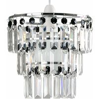 3 Tier Ceiling Pendant Light Shade with Acrylic Jewel Droplets - Black