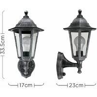 MiniSun - Traditional Outdoor Garden Security IP44 Rated Wall Light Lantern - Integrated PIR Motion Sensor + 6W LED ES E27 Bulb - Black & Silver