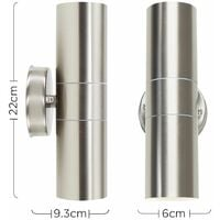 MiniSun - 2 x Stainless Steel Up/Down IP44 Outdoor Security Wall Lights - No Bulbs