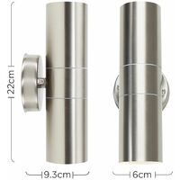 MiniSun - Outdoor Up & Down Wall Light in Stainless Steel + 3W LED Dusk to Dawn Bulb - No Bulbs