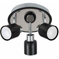 MiniSun - 3 Way Round Plate Ceiling Spotlight - Black