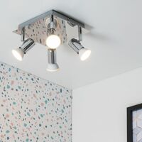 MiniSun - Square 4 Way GU10 Ceiling Spotlight - Chrome