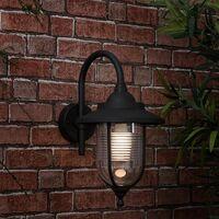 MiniSun - Outdoor Black Swan Neck Wall Light Lantern IP44 Rated - No Bulb