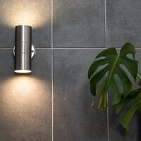 MiniSun - 2 x Brushed Chrome Outdoor Garden Up/Down Security Wall Lights - No Bulbs
