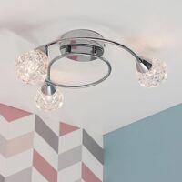 MiniSun - Modern Polished Chrome 3 Way Semi Flush Ceiling Light Fitting - No Bulbs