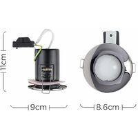 MiniSun - Fire Rated Bathroom IP65 Domed GU10 Ceiling Downlight Spotlights - Black Chrome
