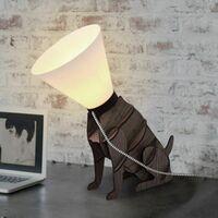 MiniSun - Dog Table Lamp Brown Wood Dog On Lead Funky Light Lamps Lighting