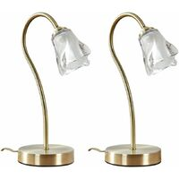MiniSun - 2 x Antique Brass & Glass Swan Neck Touch Bedside Table Lamps