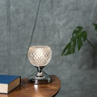 MiniSun - 2 x Decorative Glass Bedside Touch Table Lamps - Chrome