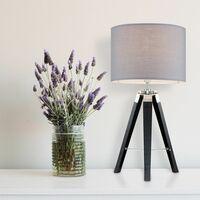 MiniSun - Tripod Table Lamp in Black with Drum Shade - Grey