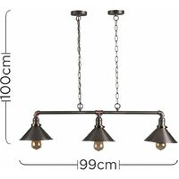 Pewter, Brass & Copper 3 Way Over Table Ceiling Light - No Bulbs
