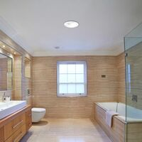 MiniSun - Flush Round Bathroom Ceiling Light with a Frosted Glass Shade - White