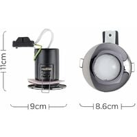 6 x Fire Rated Bathroom IP65 Domed GU10 Downlight Spotlights + 5W Cool White GU10 LED Bulbs - Black Chrome