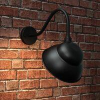 MiniSun - Pub IP23 Metal Swan Neck Outdoor Wall Light - Black