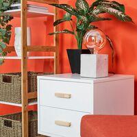 Industrial Cube Table Lamp Concrete + LED Bulb Bedside Bedroom Desk Light - No Bulb