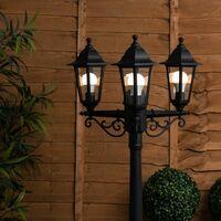 MiniSun - 1.95M Black 3 Way IP44 Outdoor Lamp Post Light + 3 x 4W LED Candle Bulbs