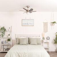 "Chrome & Wood 30"" / 76cm 6 Blade Ceiling Fan With Flush Light - No Bulb"