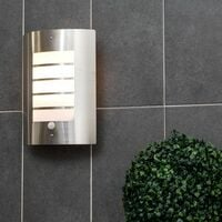 MiniSun - Stainless Steel & Frosted Lens IP44 PIR Motion Sensor Outdoor Wall Security Light - No bulb