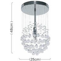 MiniSun - 2 x Chrome Ceiling Lights + Suspended Clear Acrylic Droplets