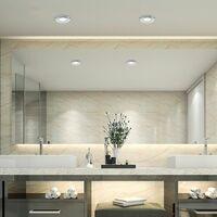 MiniSun - IP65 Rated Bathroom GU10 Ceiling Downlight + 5W Warm White LED GU10 Bulb - Chrome