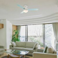 """42"""" 106cm Duck Egg Blue Cream Reversible Blade Ceiling Fan With Frosted Shade & Remote Control - No Bulbs"""
