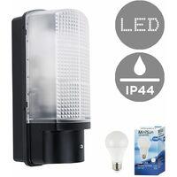 MiniSun - Outdoor Heavy Duty Plastic IP44 Rated Dusk To Dawn Bulkhead Security Wall Light - 10W LED GLS Bulb - Cool White