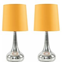 2 x Teardrop Touch Table Lamps with Cotton Shades + LED Dimmable Candle Bulbs - Mustard