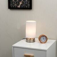 MiniSun - 2 x Chrome Touch Dimmer Bedside Table Lamps with Light Shades - White