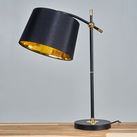 MiniSun - Black & Brass Table Lamp Lampshades Lighting Range - No Bulb