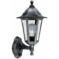 IP44 Outdoor Wall Lantern With Dusk Till Dawn Sensor + Cool White LED - Black Silver