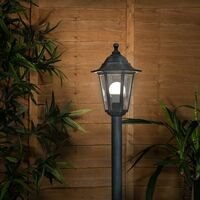 MiniSun - 1.2M Black & Silver Outdoor Lamp Post Bollard & Top Light IP44 Rated 15W LED GLS Bulb - Cool White LED Bulb