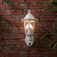 MiniSun - IP44 Outdoor Wall Lantern With Dusk Till Dawn Sensor + Warm White LED - White