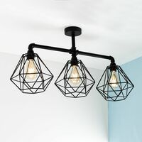 MiniSun - Black 3 Way Ceiling Light Bar - No Bulb