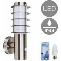 Modern Outdoor Decorative Pir Sensor Stainless Steel Wall Light Lantern + 4W LED Candle Bulb - Warm White