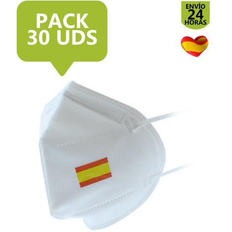 Mascarilla FFP2 NR En 1, 10 y 50 Uds | Blanca con bandera de España 1 ud.