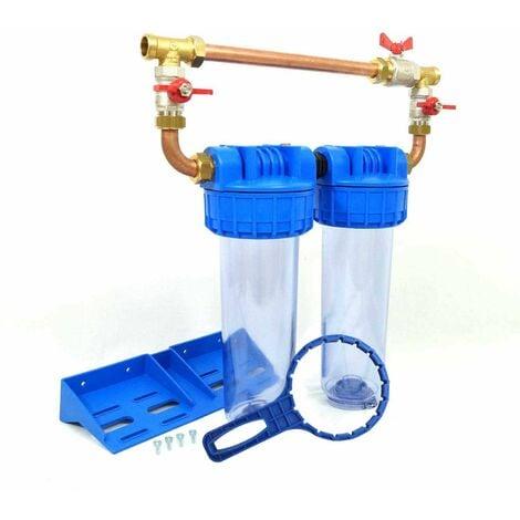 """Double porte filtre à eau 9""""3/4 - 20/27F avec by-pass"""