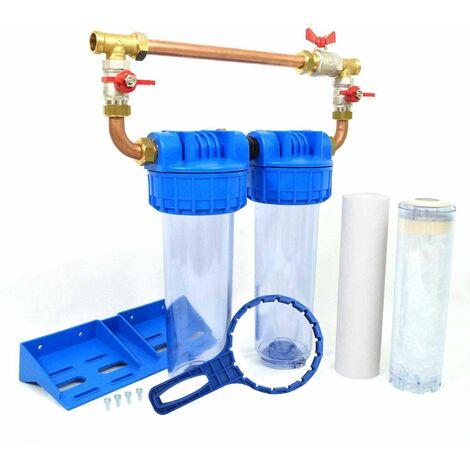 """Double porte filtre à eau 9""""3/4 - 20/27F  avec cartouche 20µm + Polyphosphate + by-pass"""